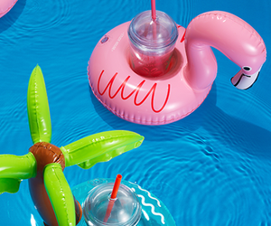 cup holder, pink, and flamingo image