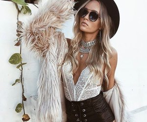 blonde, lace, and leather image