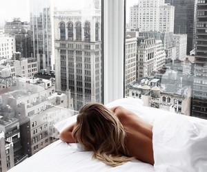 bed, girl, and city image