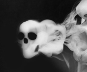 smoke, skull, and black and white image