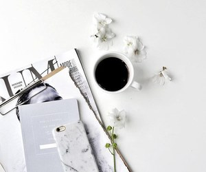 white, iphone, and coffee image