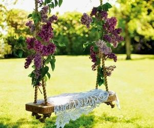 flowers, swing, and garden image