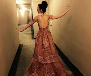dress, lily collins, and pink image