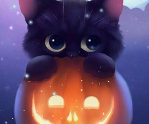 Halloween, cat, and pumpkin image