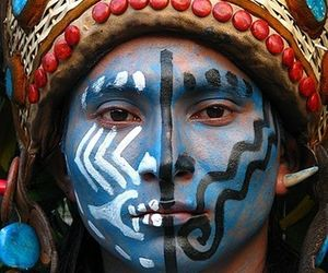 blue, man, and mayan image