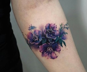 flowers, purple, and tattoo image
