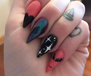 alien, nails, and tattoo image