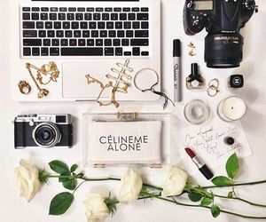 camera, flowers, and rose image