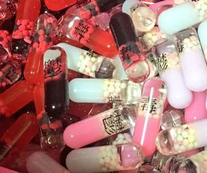 red, aesthetic, and pills image