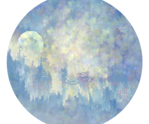 art, blue, and castle image