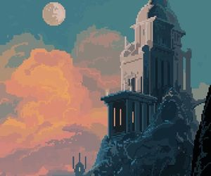 architecture, art, and moon image