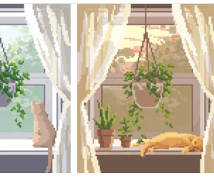 animal, cat, and curtains image