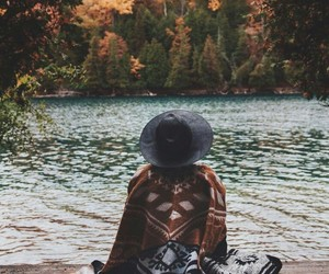 autumn, lake, and girl image