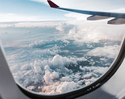 travel, clouds, and airplane image