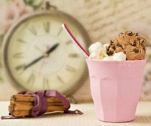 pink, ice cream, and clock image
