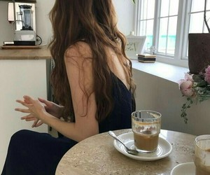 girl, hair, and coffee image