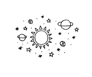 planet, stars, and sun image