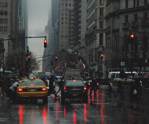 city, new york, and rain image