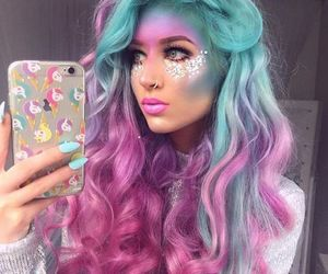 hair, makeup, and colorful image