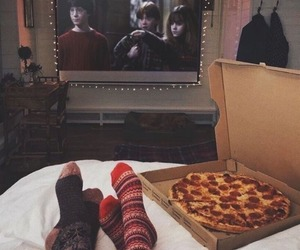 pizza, couple, and movie image