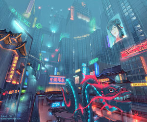 art, city, and china image