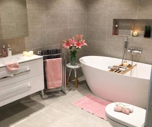 bathroom, pink, and decor image