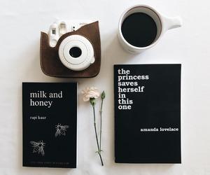 book, coffee, and polaroid image