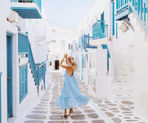 dress, blue, and Greece image