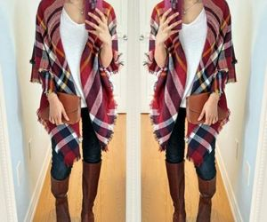 fall, outfit, and poncho image