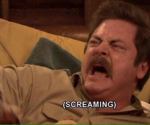 screaming, parks and rec, and ron swanson image