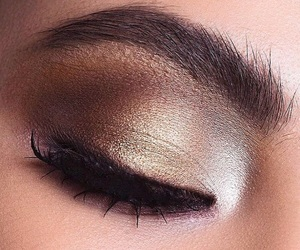 brow, glitter, and lashes image