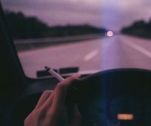 car, cigarette, and road image