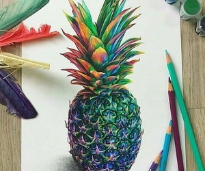 drawing, art, and pineapple image