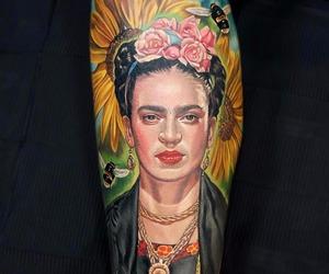 frida kahlo, tattoo, and portrait tattoo image