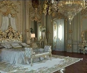 bedroom, gold, and princess image