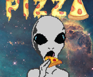 alien, pizza, and wallpaper image
