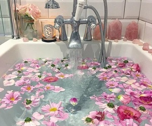 flowers, bath, and pink image