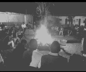 black and white, campfire, and grey image
