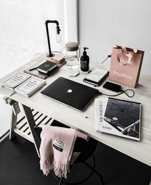 desk, white, and pink image