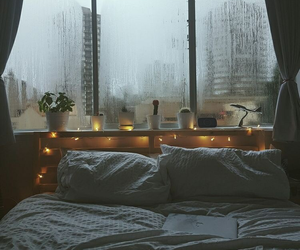 rain, bed, and bedroom image
