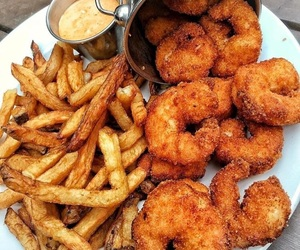 food, fries, and shrimp image