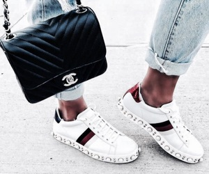 gucci, chanel, and sneakers image