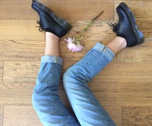 aesthetic, doc martens, and flower image