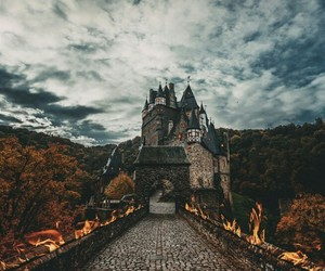 castle, fire, and autumn image