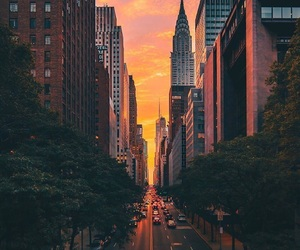 sunset, city, and new york image