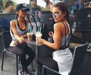 girl, starbucks, and friends image