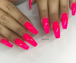 girly, hot pink, and nails image
