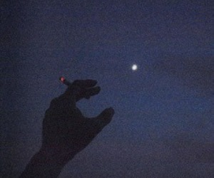 moon, night, and cigarette image