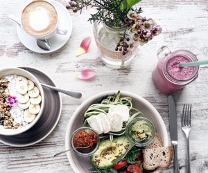 coffee, salad, and smoothie image