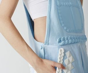 white, dungaree, and blue image